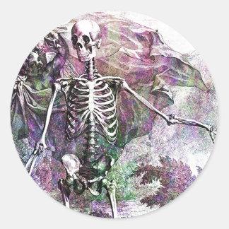 Halloween Skeleton & Cherub Round Sticker