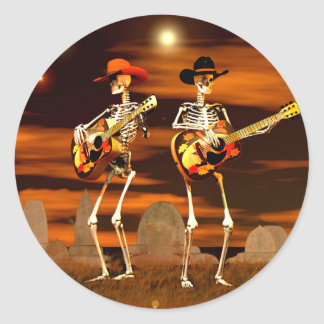 Halloween Skeleton Concert Classic Round Sticker