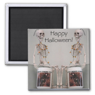 Halloween Skeleton Duo Strong Coffee Designed Magnet