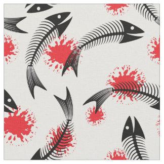 halloween skeleton fish fabric