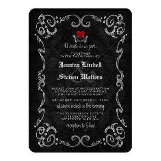 """Halloween Skeleton """"TIL DEATH"""" RECEPTION INFO BACK Card"""