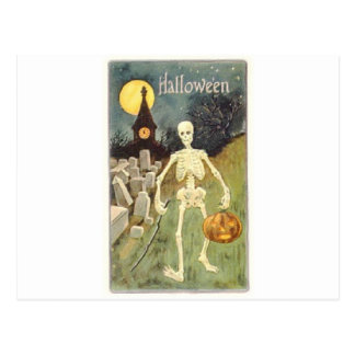 Halloween Skeleton with Jackolantern Postcard