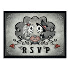 Halloween Skeletons Black Grey & Red Heart RSVP Postcard