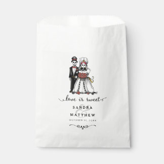Halloween Skeletons Bride Groom  Love is Sweet Favour Bag
