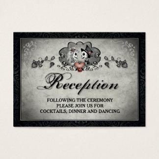 Halloween Skeletons & Heart Black Gray Reception Business Card