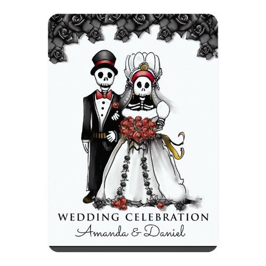Halloween Skeletons Red Bride Groom Together With Card