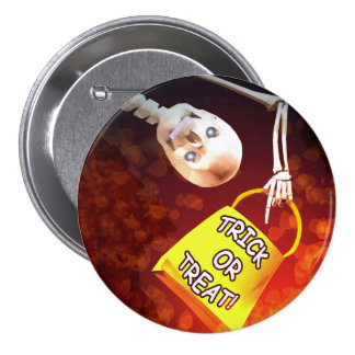 Halloween Skeletons Trick or Treat 3 Inch Round Button