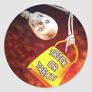 Halloween Skeletons Trick or Treat Classic Round Sticker