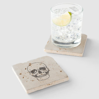Halloween Skull Black Line Drawing Stone Coaster