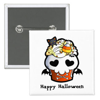 Halloween Skull Cupcake 2 Inch Square Button