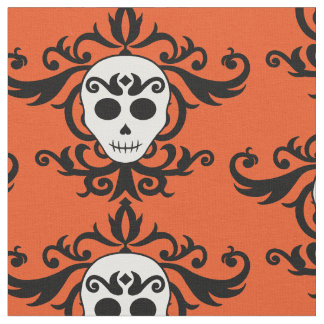 Halloween skull damask | Day of dead Fabric