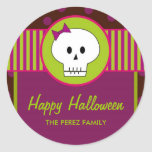 Halloween Skull, Round Favour Tags/ Topper Sticker