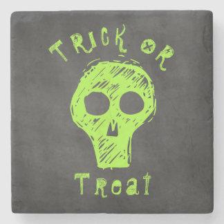 Halloween Skull Spooky Trick or Treat Green Black Stone Coaster