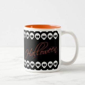 Halloween Skulls Black White & Orange Mug