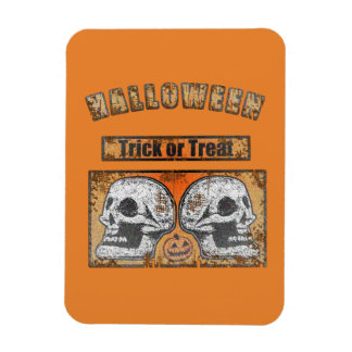 Halloween Skulls -Trick Or Treat Worn Orange Magnet