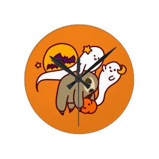 Halloween Sloth Round Clock