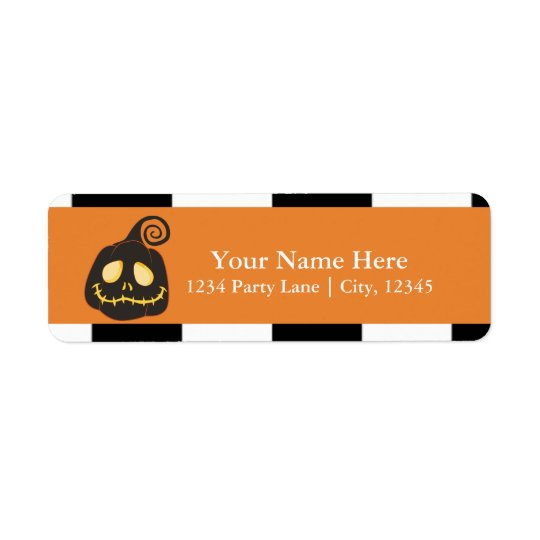 Halloween Smiley Black Pumpkin Whimsical Return Address Label