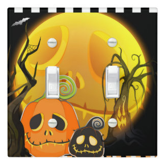 Halloween Smiley Pumpkin Cute Whimsical Light Switch Cover