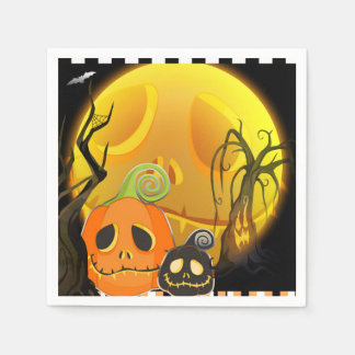 Halloween Smiley Pumpkin Cute Whimsical Party Paper Napkin