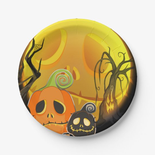 Halloween Smiley Pumpkin Cute Whimsical Party Paper Plate
