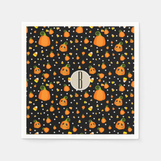 Halloween Smiley Pumpkins Whimsical Pattern Party Paper Napkin