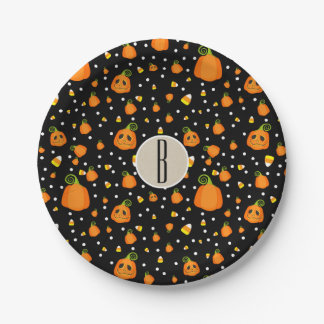 Halloween Smiley Pumpkins Whimsical Pattern Party Paper Plate
