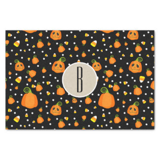 Halloween Smiley Whimsical Pumpkins Rustic Kraft Tissue Paper
