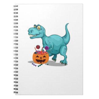 Halloween Sneak Dinosaur Funny  Halloween Candy Spiral Notebook
