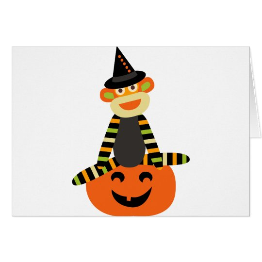 Halloween sock monkey card