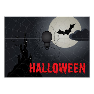 Halloween Spider in Spiderweb Night Scene Poster