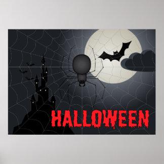 Halloween Spider in Spiderweb Night Scene Poster