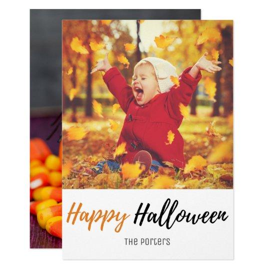Halloween Spider Jack O Lantern Family Photo Card