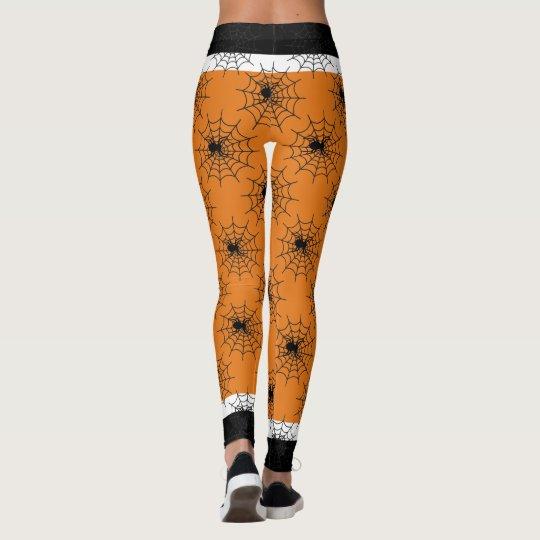 Halloween spider web black and orange leggings