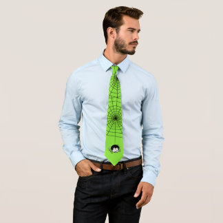 Halloween Spider Web Bright Green Shirt Tie