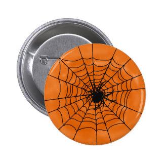 Halloween Spider Web with Spider on Orange 2 Inch Round Button