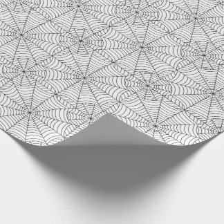 Halloween Spider Webs on White Wrapping Paper