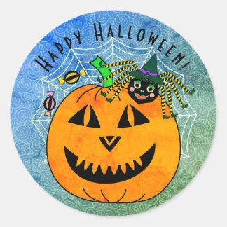 Halloween Spider Witch and Pumpkin Classic Round Sticker