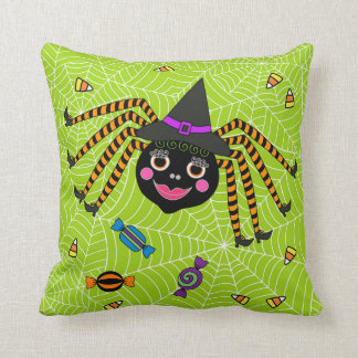 Halloween Spider Witch with Candy Throw Pillow
