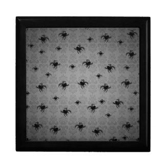 Halloween spiders on gray faded damask decor jewelry boxes