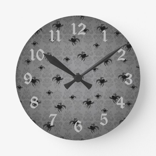 Halloween spiders on grey faded elegant damask round clock