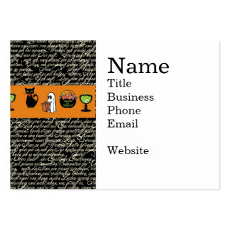 Halloween Spookey Writing with Orange Stripe Business Card Template