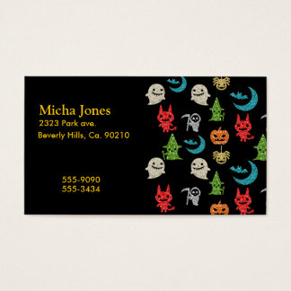 Halloween Spooky Cute Characters Glitter Collage Business Card
