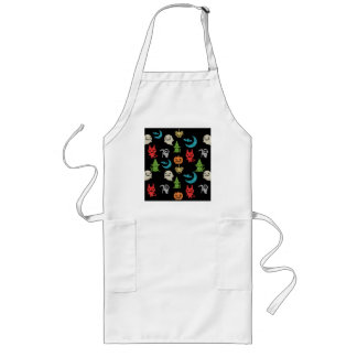 Halloween Spooky Cute Characters Glitter Collage Long Apron