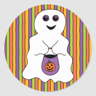 Halloween Spooky Ghost Trick-or-treater Classic Round Sticker