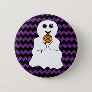Halloween Spooky Ghost with Lollipop 2 Inch Round Button