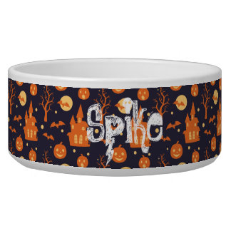 Halloween Spooky House Bats Trees Pumpkin Pattern Dog Bowl