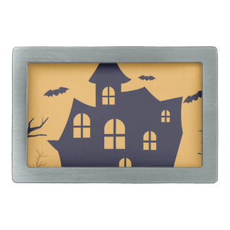 Halloween Spooky Mansion and Bats Belt Buckles