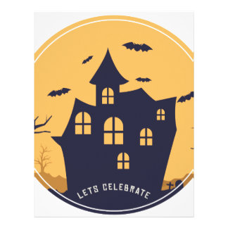 Halloween Spooky Mansion and Bats Letterhead