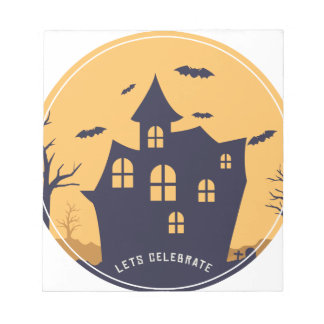 Halloween Spooky Mansion and Bats Notepad
