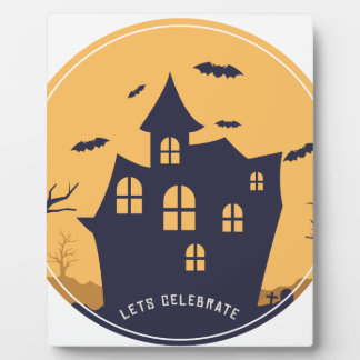 Halloween Spooky Mansion and Bats Plaque